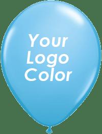 Pale blue balloons white logo